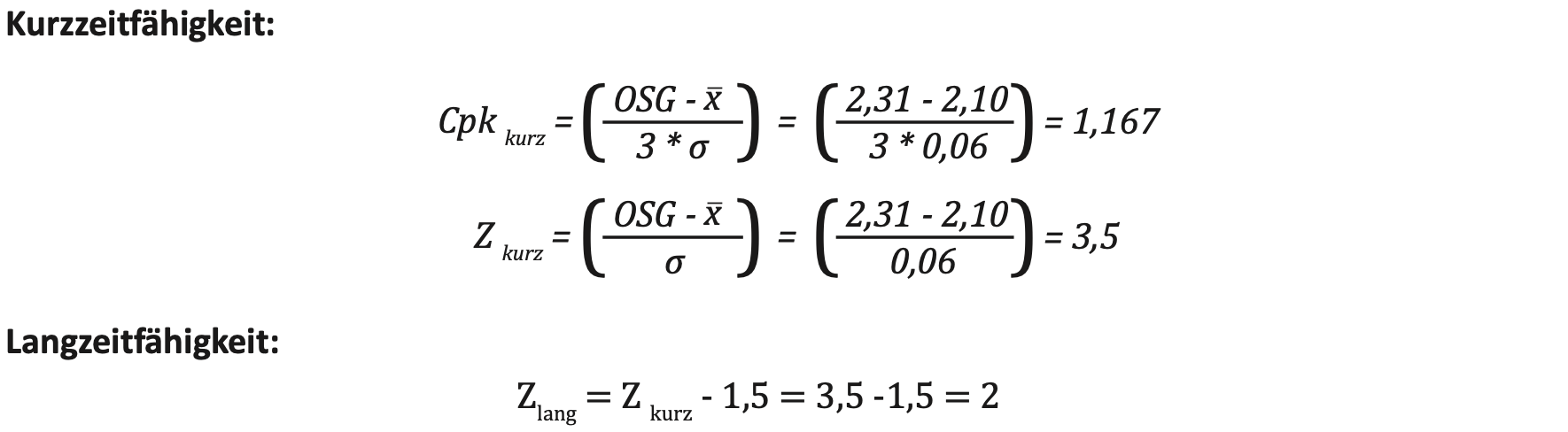 Sigma Shift Formel